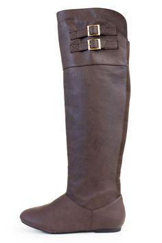Brown Faux Leather Over The Knee Boots With Buckle Accents