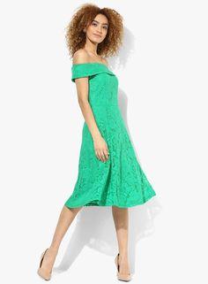 b879bed1035 Buy DOROTHY PERKINS Green Solid Lace Bardot Midi Dress Online - 3230330 -  Jabong
