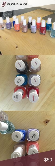 I'm giving up nail polish☹️ 10 bottles of my favorite brand, plus a base coat and a top coat. Nearly all have only been used once. I've checked each one and these are still in great usable condition, not sticky. Essie sells for $8.99 retail. essie Makeup