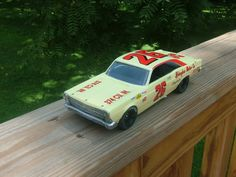 Lee Roy Yarbrough 1967 Ford Fairlane. AMT 1/25 scale kit with heavy modifications. Paint is MCW Springtime Yellow with Yesterday's and Randy Purvis decals. Wheels and tires by Plastic Performance Products.