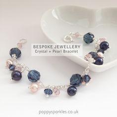 Bespoke Peach and Navy Bracelet by Poppy Sparkles