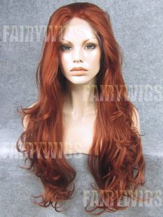 Reddish Brown Synthetic Lace Front Wig with Popular Wavy Style - All Synthetic Wigs Synthetic Lace Front Wigs, Synthetic Wigs, Cheap Real Hair Wigs, Red Lace Front Wig, Buy Wigs, Remy Hair Wigs, Natural Wigs, Long Red Hair, Wigs Online