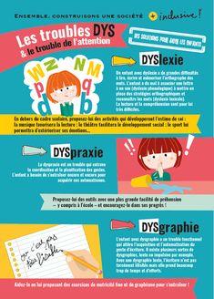 Les troubles DYS et le trouble de l'attention - Blog Hop'Toys Student Life, Kids Health, Learn English, Digital Marketing, Infographic, Parenting, Positivity, Teaching, Support