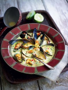 Spiced saffron and mussel soup recipe. This terrific starter or light supper recipe is perfect on a cold evening – the spicy mussel mix is full of warming flavours and interesting textures. Shellfish Recipes, Seafood Recipes, Soup Recipes, Cooking Recipes, Mussel Recipes, Free Recipes, Seafood Soup, Seafood Dishes, Fish And Seafood