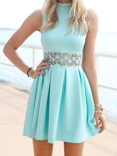 Light Blue Hollow Crochet Snowflake Pattern Sleeveless Dress