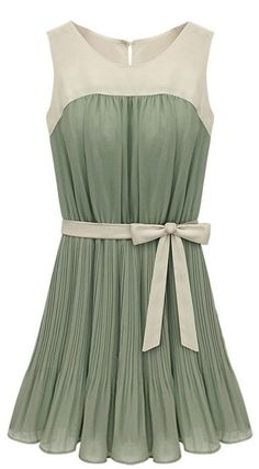 Green Pleated Chiffon Dress