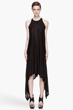 GARETH PUGH Black jersey Draping halter Dress