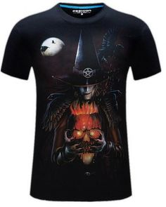 995b93b56 3D skull Witch t shirt plus size clothing for big and tall men Tall Men,