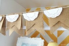 Vintage feeling burlap and lace doily bunting