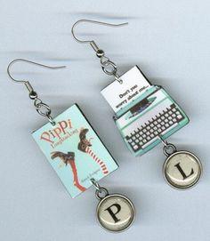 Pippi Longstocking Typewriter Book Earrings