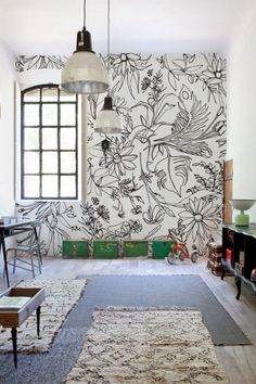 Hand Drawn Flowers: Grab some Sharpies, release your inner Monet and have fun drawing some summer blossoms. (via Wall + Deco) wall painting 30 Eye-Catching Wall Murals to Buy or DIY Diy Wand, Deco Originale, Contemporary Wallpaper, Contemporary Rugs, Home And Deco, Minimalist Decor, Minimalist Kitchen, Minimalist Interior, Minimalist Bedroom