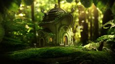 Moss house, Michal Kwolek on ArtStation at https://www.artstation.com/artwork/EwLKe