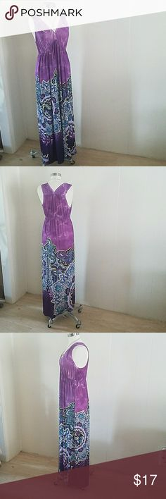 Everlasting Summer Purple Print Maxi You were made to stand out and born to make a difference.  This beautiful maxi dress is calling your name.  Features empire waist, deep -v neckline. Dresses Maxi