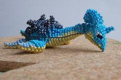 Expressive Blue Turtle Bead Art