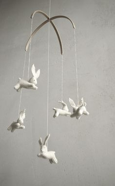 Too expensive but pretty cute!/ Baby crib mobile / bunnies by Patricija, $119.00