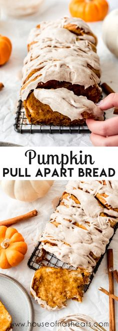 Warm, comforting, and oh-so-satisfying, this Pumpkin Pull Apart Bread is a fun, supremely shareable loaf that is perfect for a breakfast treat, afternoon snack, or simple dessert all season long! The cinnamon spiced glaze takes it right over the top and gives it those cinnamon roll vibe in pull apart form! #ad #pumpkin #pullapart #bread #loaf #easy #homemade #best #simple #biscuits #canned #quick
