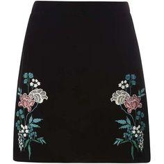 Dorothy Perkins Black Embroidered Velvet Skirt ($49) ❤ liked on Polyvore featuring skirts, bottoms, black, floral knee length skirt, floral skirt, embroidered skirt, dorothy perkins and floral printed skirt