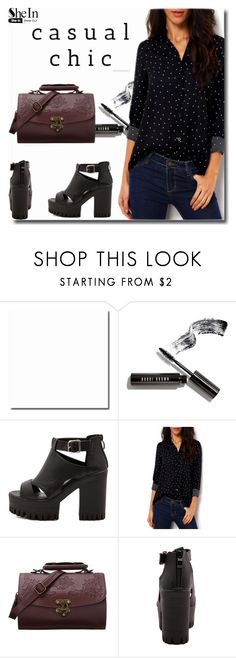"""""""SheIn 3/4"""" by goldenhour ❤ liked on Polyvore featuring Bobbi Brown Cosmetics, sandals, bag, Sheinside, blouse and shein"""