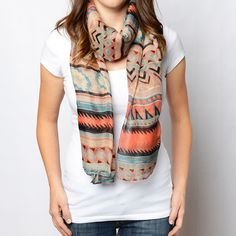 NEW!!! Wrap yourself up in this colorful scarf featuring a fun, aztec print. Layer with a jacket, tee! Only $12.95