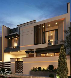 Discover recipes, home ideas, style inspiration and other ideas to try. Modern Exterior House Designs, Modern House Facades, Modern Villa Design, Modern Architecture House, Modern House Plans, Exterior Design, Facade Design, Interior Architecture, 2 Storey House Design