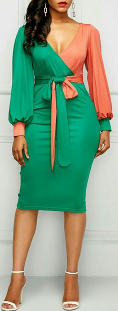 V Neck Belted Lantern Sleeve Sheath Dress African Attire, African Wear, African Fashion Dresses, African Dress, Sexy Dresses, Cute Dresses, Dress Skirt, Dress Up, Sheath Dress