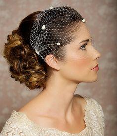 "Ivory Dotted Veil, Birdcage Veil, Chenille Polka Dots, Bandeau Birdcage Veil, Bridal Veil - 9"" - Made to Order"