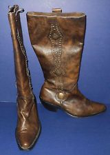 """Baci Pistol Size 7.5 M Women's Boots Brown Leather Made in Mexico 17"""" High"""