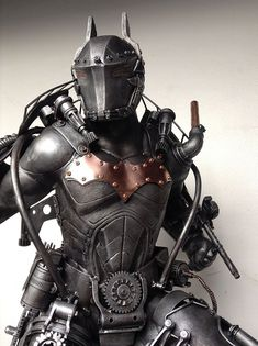 "rhubarbes: ""Steampunk Batman sculpture by Ram Mallari Jr. More about batman here. Steampunk Cosplay, Steampunk Armor, Steampunk Kunst, Style Steampunk, Steampunk Fashion, Steampunk Clothing, Gothic Steampunk, Steampunk Robots, Steampunk Necklace"