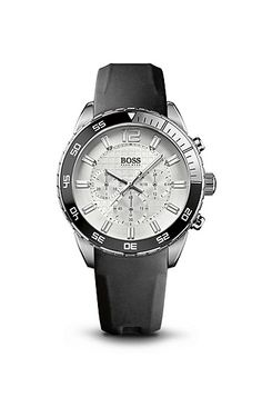Chronograph Black Rubber-Coated Leather Strap Watch by BOSS