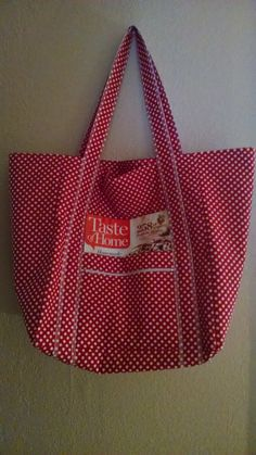 """Double Extra Large Durable 15.5"""" Grocery Shopper Reversible Market Tote Bag White Dots on Red with POCKETS Sale 15% Off* by ShawnasSpecialties on Etsy"""