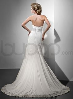 Gossamer Chiffon Slender A-line With Dramatically Ruched Criss-cross Sweetheart Neckline Wedding Dress