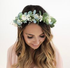 50 ideas baby shower floral crown headpieces for 2019 White Flower Crown, Flower Crown Bride, Flower Veil, Floral Crown Wedding, Bride Flowers, Bridal Crown, Flowers In Hair, Floral Crowns, Simple Flower Crown