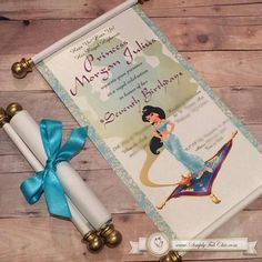 The Princess Jasmine Scroll Invitation is custom made for each birthday event and it's perfect for a First Birthday, Quinceañera Aladdin Birthday Party, Aladdin Party, Prince Birthday, 5th Birthday Party Ideas, Birthday Decorations, Jasmin Party, Princess Jasmine Party, Princess Sophia, Royal Princess