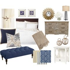 Navy Blue and Khaki Bedroom by bergatory on Polyvore featuring interior, interiors, interior design, home, home decor, interior decorating, CFC, PBteen, Skyline and Threshold