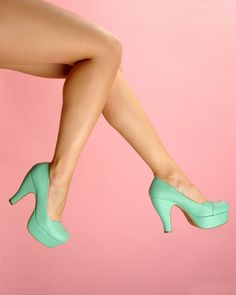 Curved Front Platform Pump in Mint - We've been loving this platform style with a 1940s flair, and mint is one of our favorite colors this season!  They feature a textured faux leather finish, a swish of style at the toe, and the most perfectly curved heel, and we found them to fit true to size.