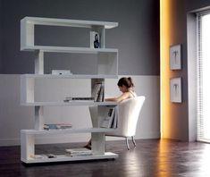 Original y asimétrica estantería en blanco Shabby, Decoration, Bookcase, Conception, Shelves, Design, Home Decor, Blog, Weapons Guns