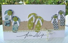 Wahine Inks... card from Hawaii... flip flops in the sand...clever die cutting...