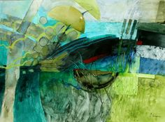 Summer French Greens by Shirley Trevena / Watercolour & Mixed Media
