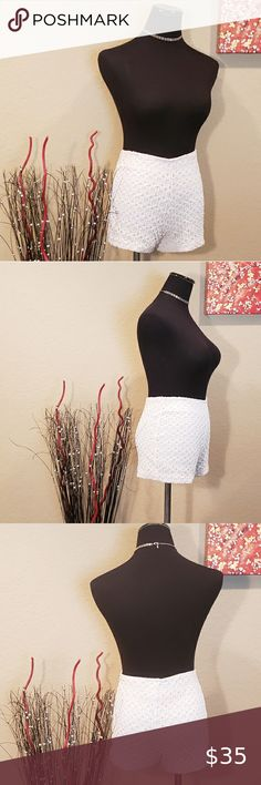VINTAGE 90S SOLANA WHITE LACE HIGH WAISTED SHORTS Fabulous true vintage 90s high waisted shorts/ hot pants! They feature a super stretchy white lace fabric, elasticized waistband and are fully lined. I bought these new in South Beach/Miami, Florida in 1997 at a little boutique next door to the Versace store! Size medium (See measurements for sizing also). In very good vintage condition! Solana Shorts Versace Store, White Lace Fabric, Miami Florida, Hot Pants, South Beach, High Waisted Shorts, Boutique, Medium, Womens Fashion