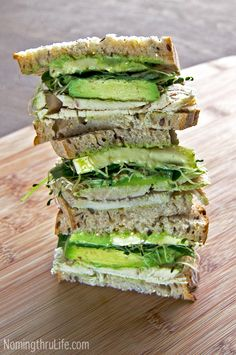 Green Goddess Roast Turkey Sandwich - A fresh, crisp, flavor packed, delicious, roasted turkey, green goddess sandwich.