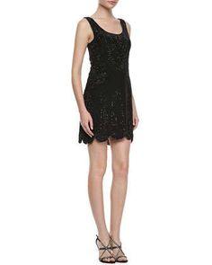 Beaded Sleeveless Scalloped-Hem Dress by Phoebe at Neiman Marcus.