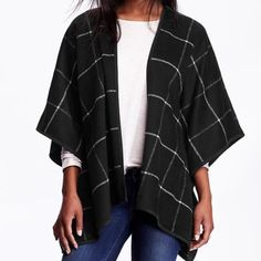 Black plaid open-face wool blend Poncho Old Navy Open-face Wool-blend Poncho. Color is Black Plaid. Never worn. More pics to follow Old Navy Jackets & Coats
