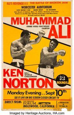 Boxing Collectibles:Memorabilia, 1973 Muhammad Ali vs. Ken Norton II Closed-Circuit Fight Poster....