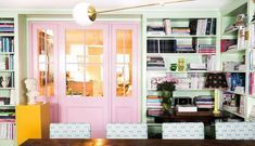 Anna Spiro Design's Colorful New Brisbane Office - Katie Considers - July 27 2019 at Colorful Interior Design, Office Interior Design, Colorful Interiors, Double Doors Interior, Interior Barn Doors, Barn Door In House, Contemporary Front Doors, Glass French Doors
