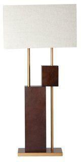 Elevate Table Lamp, Dark Wood and Brass -- Inspired by a block sculpture, this lamp has a fun yet artful look that adds visual interest to the room.