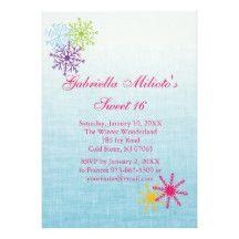 Colorful Snowflake Sweet 16 Birthday Invitation