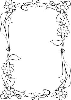 Dos nuevas imagenes agregadas a: MARCOS Y BORDES  Industrial: Versión B/N aquí: Flores:  Salu2 Doodle Borders, Borders For Paper, Borders And Frames, Page Borders Design, Border Design, School Frame, Flower Doodles, Floral Border, Writing Paper