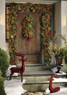 Bring a welcoming glow to your home's facade this Christmas with the Cordless Winter Garden Outdoor Greenery Collection that features an abundant mix of lifelike greenery, oversized berries, pinecones and warm, glowing LED lights.