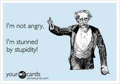 Funny Confession Ecard: I'm not angry, I'm stunned by stupidity!