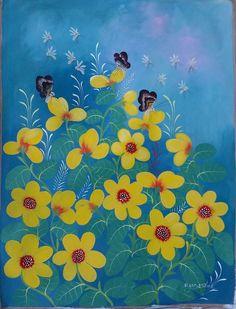 Haitian Folk art painting famous artist Aland Estime Flowers Bouquet Haiti 30x40 #Naif